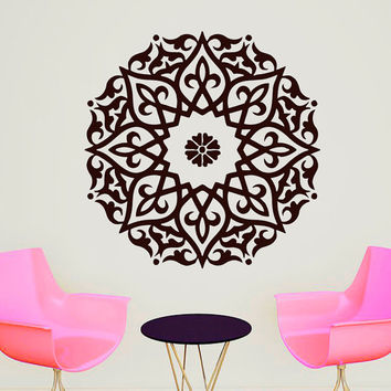Wall Decals Mandala Indian Pattern Yoga Oum Om Sign Decal Vinyl Sticker Home Decor Art Murals Bedroom Studio Window MN488