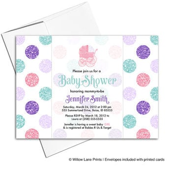 Girl baby shower invitation polkadots | pink mint purple baby girl baby shower invite baby carriage | printable or printed - WLP00708