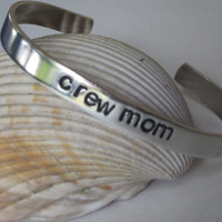 crew mom cuff bracelet, hand stamped aluminum cuff bracelet for crew mom, rowing jewelry, Mother's Day gift, crew jewelry, gift for mom