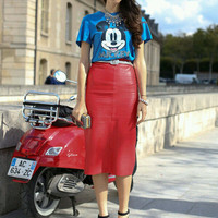 Red Leather Midi Pencil Skirt