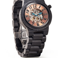Dover Ebony & Copper - Black Skeleton Wood Watch by JORD