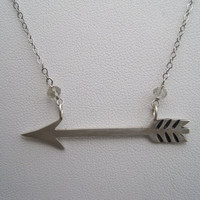 Sterling Silver Arrow Necklace with Gemstones by AListDesigns