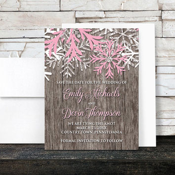 Rustic Winter Save the Date Cards - Country Rustic Winter Wood Pink Snowflake - Printed Save the Date Cards
