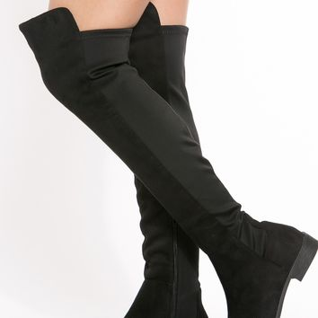 Black Faux Suede Two Toned Over The Knee Boots @ Cicihot Boots Catalog:women's winter boots,leather thigh high boots,black platform knee high boots,over the knee boots,Go Go boots,cowgirl boots,gladiator boots,womens dress boots,skirt boots.