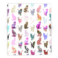 Society6 Girly Whimsical Cats Aztec Floral Stripes Patt Blanket