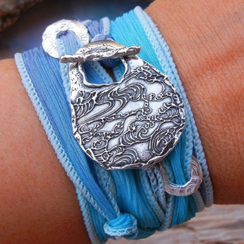 Ocean Waves Silk Wrap Bracelet