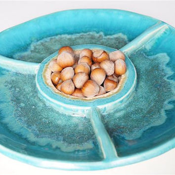 Chip and Dip, Turquoise Plate, Handmade Ceramic Dish, Ceramics and Pottery, Ceramic Plate, Party Dish