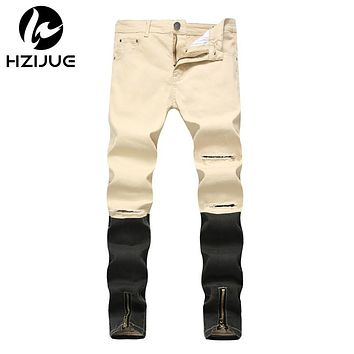 Skinny Biker Jeans Men HIP HOP Stretched Jeans with Zippers streetwear Jean Men's Scratched Pants Trousers