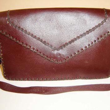 Vintage Cross Body Bag, Organizer Purse, Vintage Coach Bordo Leather Shoulder Bag, Sty