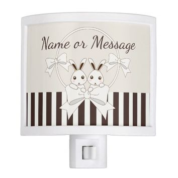 Cute Animal Bunnies Classic Vintage Kids Name Night Light