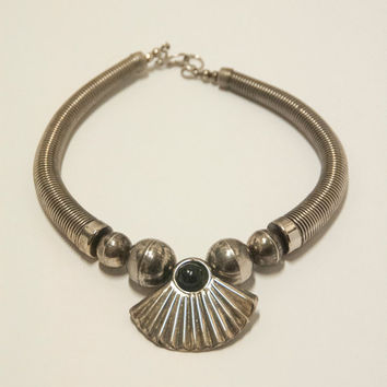 Antique Silver Tribal Choker Necklace | Greek Goddess Statement Bib Necklace | Gothic Bohemian Grunge Collar Boho Jewelry | Cleopatra Patina