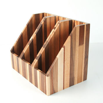 Upcycled Reclaimed Recyled Wood File Holder Magazine Holder