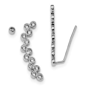 Rhodium-Plated Sterling Silver CZ 1 Ear Climber & 1 - 3mm Stud Earring