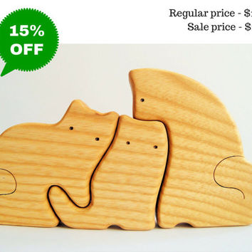 Wooden Puzzle Cats Family Gift for Toddlers and Children Animal Puzzle Cat figurine Woodland set puzzle Handmade Eco Friendly Toy Animals
