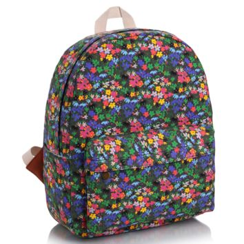 Cute Floral Printed Canvas Backpack College School Bag Travel Daypack