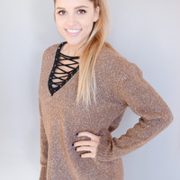 Hot Chocolate Lace Up Sweater