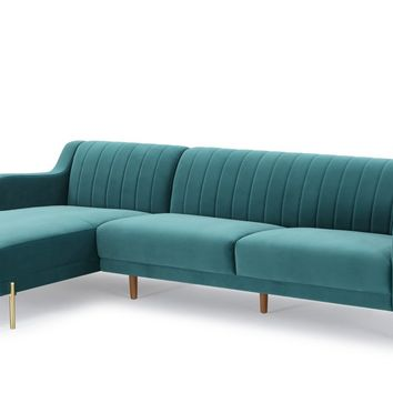 Divani Casa Flow Modern Teal Velvet Sectional Sofa w/ Left Facing Chaise