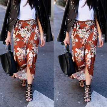 Summer Fashion Casual Flower Print High Waist Long Section Irregular Skirt