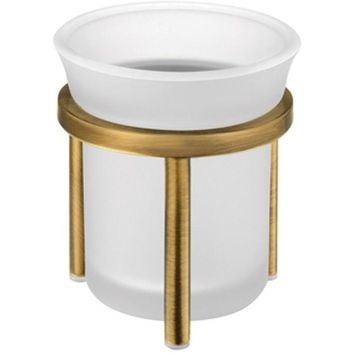 SCBA Retro Frosted Glass Bronze Toothbrush Toothpaste Holder Bath Tumbler, Brass