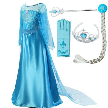 Girls Princess Elsa Dress Costumes for kids Anna Snow Queen Costume Cosplay Dresses Clothes Children Party Dress Vestidos