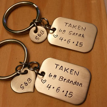 Hand Stamped Keychain - Personalized Keychain Couples - Anniversary Gift - Taken Keychain - Couple Keychains