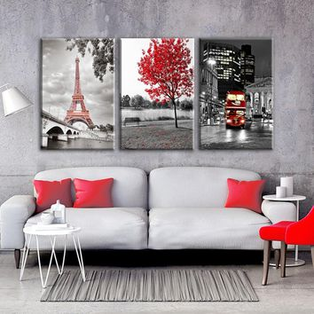 HD Prints Paintings Wall Art Framework 3 Pieces Paris Eiffel Tower Pictures Canvas Home Decor Red Car Bus Red Maple Tree Poster