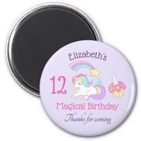 Cute Unicorn with Colorful Shooting Star & Cupcake Magnet