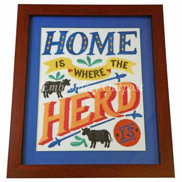 Home Is Where The Herd Is - Embroidery Framed Wall Art