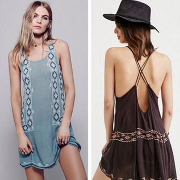 ICIKVQ8 Free People' Fashion Retro Geometric Embroidery Backless Bandage Sleeveless Mini Dress