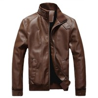LAAMEI 2018 Fashion Autumn Male Leather Jacket Plus Size 3XL Black Brown Mens Stand Collar PU Coats Leather Motorcycle Jackets