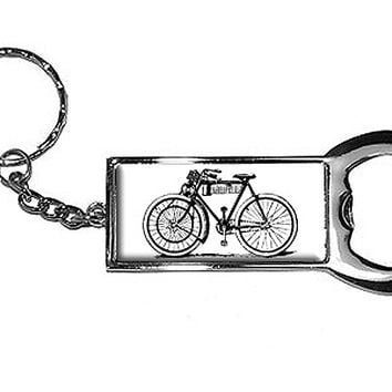 Bicycle Old Fashioned Bottle Opener Keychain