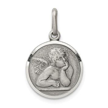 925 Sterling Silver Antiqued Raphael Angel Charm and Pendant