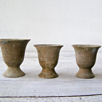 Antiqued bronze cup set, Vintage bronze footed goblets, Collectible Mediterranean, Oriental coffee table decoration, Rustic small planters