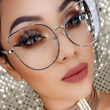 Oversize Women Metal Cat Eye Glasses Frame Brand Designer Fashion