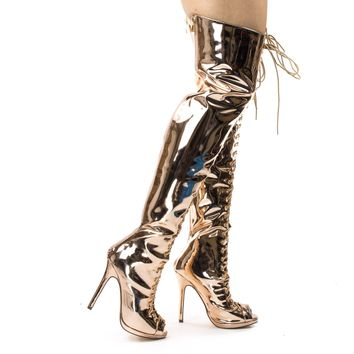Opus1C Rose Gold Corset Military Lace Up OTK Over Knee Thigh High Boots w Heel & Peep Toe