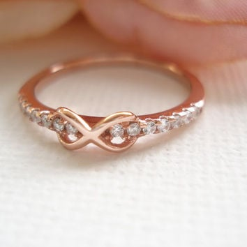 Tiny Infinity  Gold over Sterling silver with cubic zirconia ring...simple, wedding accessories, bridesmaid gift, best friends forever