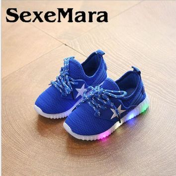 SexeMara kids Five-pointed sneakers with led light spring summer boys sport running sh