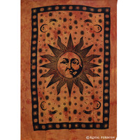Orange Twin Size Bright Sun Moon Dorm Room Hippie Tie Dye Indian Tapestry Decor