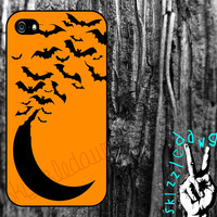 Halloween Moon and Bats Apple iPhone 4/4S and 5 Cell Phone Case Cover Original Trendy Stylish Design