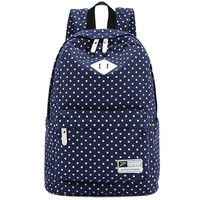 Womens Mens Fashion Dots Canvas Backpack Daypack Travel Bag Pretty Backpack School Bookbag Gift 04