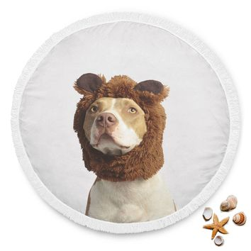 Lovable Pit Bull Round Beach Blanket