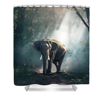 Lone Elephant - Shower Curtain
