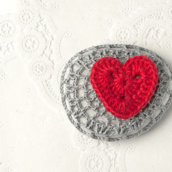 Crochet Covered Stone,Valentine's Day, Lace Stone, Paperweight, Home Decor, Beach Wedding,  Fiber Art Object, Gray and Red Heart