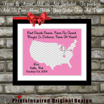 Personalized Best Friend Birthday Gift Long Distance Friendship Map Quote Moving Away Miss You