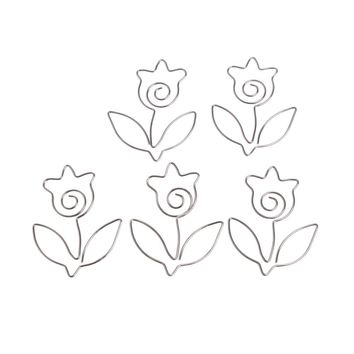 Mini5PCS/LOT Metal flower Shape Paper Clips Silvery Color Funny Kawaii Bookmark Office School Stationery Marking Clips