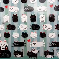 Japanese black and white cat stickers - kawaii white kitty - black kitten stickers - cute stretching cats - cat emoticon face stickers