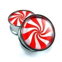 Peppermint Picture Plugs gauges 00g 1/2 by mysticmetalsorganics