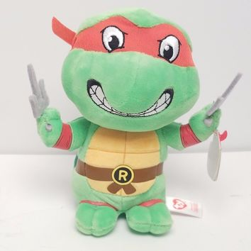 "NEW TY RAPHAEL 6"" Beanie Baby Plush Toy Teenage Mutant Ninja Turtle TMNT"