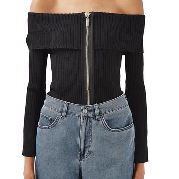 Topshop Boutique Off the Shoulder Zip Top | Nordstrom