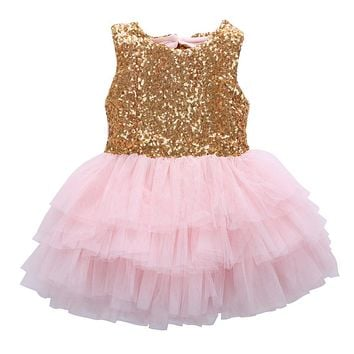 Sleeveless Baby Girl Sequins Dress Bow Lace Tulle Party Gown Formal Backless Party wedding Dresses